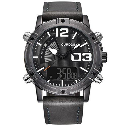 Gray Chronograph Alarm (SUKEQ Fashion Men Luminous Quartz Watch Army Military Leather Band Chronograph Alarm Watch Waterproof Sport Wristwatch CURDDEN Watch (Deep Gray))