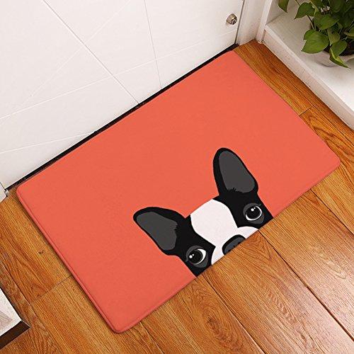 YJ Bear Thin Cartoon Black and White Puppy Dog Print Rectangle Doormat Kitchen Floor Runner Floor Mat Entry Mat Home Decor Carpet Indoor Orange 20' X 31.5'