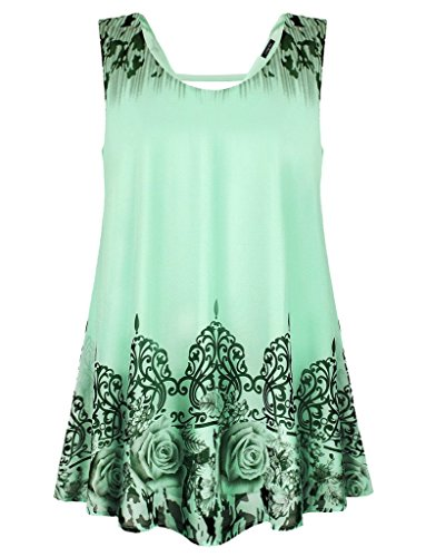 Laksmi Womens Sleeveless Scoop Loose Fitting Chiffon Cami Tank top , Large Water Leaf