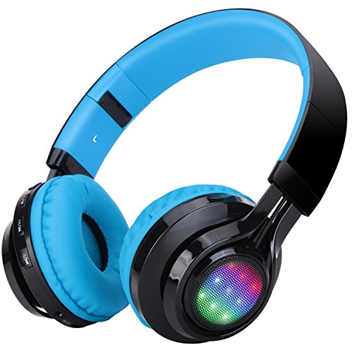 AB005 Wireless Bluetooth Headphone LED Light Stereo (Blue) - 1