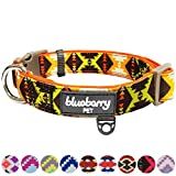 Blueberry Pet Soft & Comfy Vintage Tribal Pattern Adjustable Neoprene Padded Dog Collar in Extravagant Orange, Large, Neck 45cm-66cm, Adjustable Collars for Dogs