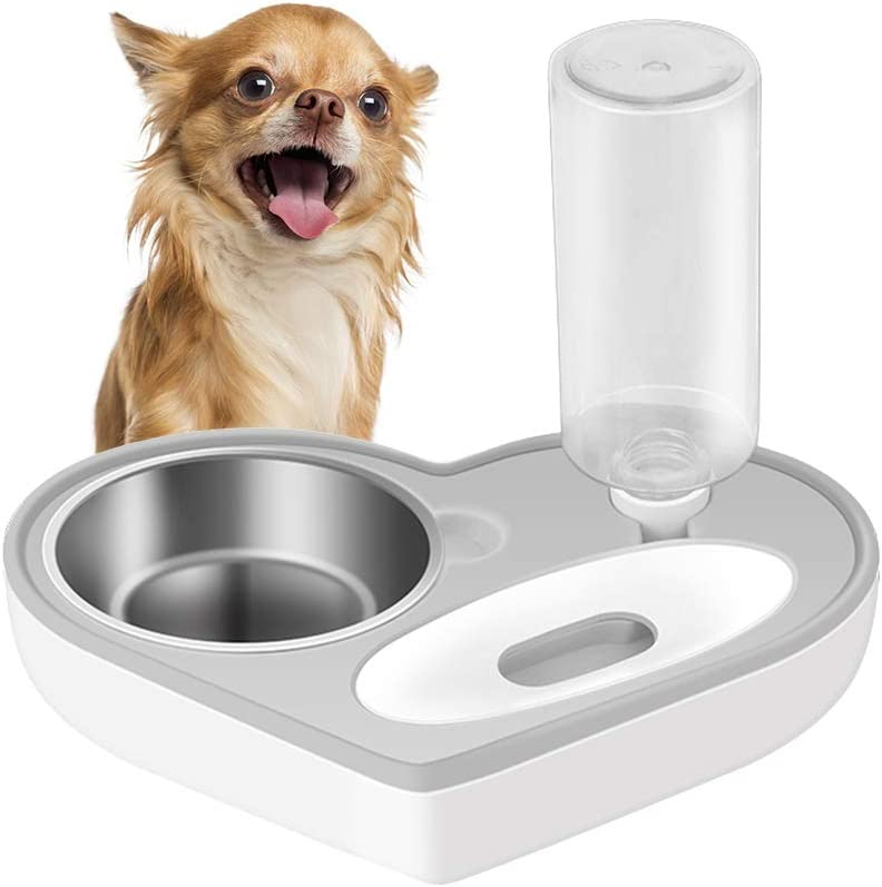 ASENVER Automatic Pet Feeder 2-in-1 Cat Feeding Dispenser Detachable Dog Water Bottle and Food Bowl Heart Shaped