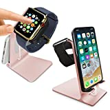 Orzly - DuoStand Charge Station for Apple Watch & iPhone (Fits ALL Models of AppleWatch & iPhone) - Aluminium Desk Stand Cradle in ROSE GOLD