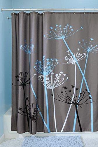 InterDesign Thistle Shower Curtain, 3 Piece Bundle - Gray and Blue