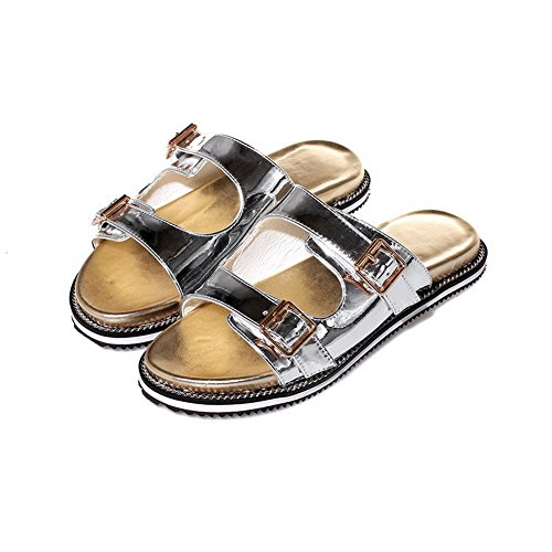 AmoonyFashion Womens Open Toe Low Heels Solid Pull On Sandals Silver oeP5kt2sBW