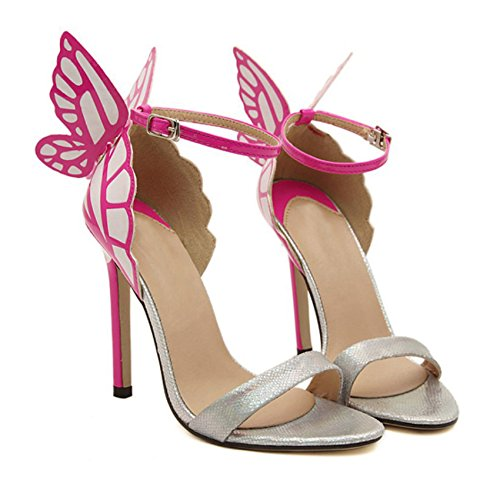butterfly wedding 35 SODIAL Stiletto sandals high shoes bridal party heels woman Bowtie bow pointed Silver personality Valentine's pumps Heel Women toe Colorful R BPxqYpw