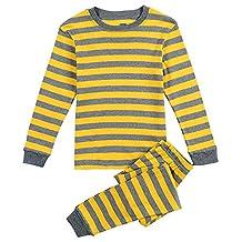 CNBABY Yellow Striped Toddler Boy Pajamas 100% Cotton