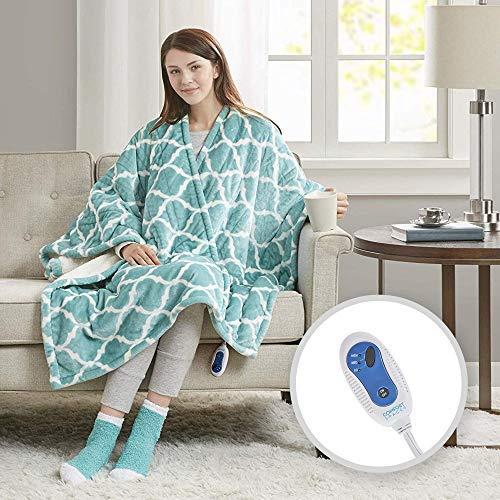 Comfort Spaces Electric Heated Throw Blanket Wrap Ultra Soft Warm Plush Sherpa Reverisble Blanket - 3 Fast Heat Setting - Ogee Aqua - 50x64 inches Match Socks Set