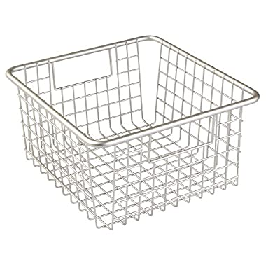 InterDesign Forma Household Wire Storage Basket with Handles For Kitchen Cabinets, Pantry, Bathroom, Medium, Satin,  10-inch x 9-inch  x 5-inch
