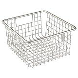 bathroom container storage - InterDesign Forma Household Wire Storage Basket with Handles For Kitchen Cabinets, Pantry, Bathroom, Medium, Satin,  10-inch x 9-inch  x 5-inch