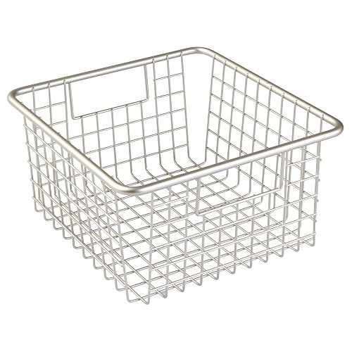 InterDesign Forma Household Wire Storage Basket with Handles For Kitchen Cabinets, Pantry, Bathroom, Medium, Satin,  10-inch x 9-inch  x 5-inch (Wire Vegetable Basket)