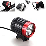 1 Pcs Optimum Popular Style 4 Modes 6000Lm 3x LED Bike Lights Material Aluminum Bicycle Lamp Rechargeable Torch Color Black with Red