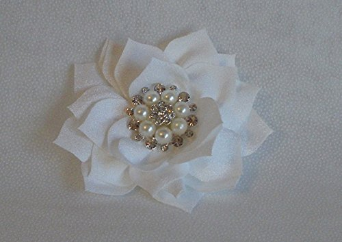 Rhinestone and Pearl Poinsettia Flower Dog Collar Accessory, Pet Accessory (White) (Poinsettia Pearl)