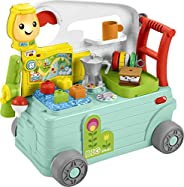 Fisher-Price Laugh & Learn 3-in-1 On-the-Go Camper, Musical Push-Along Walker and Activity Center for Infa