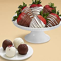 4 Cake Truffles & 6 Swizzled Strawberries - Great for Valentine's Day