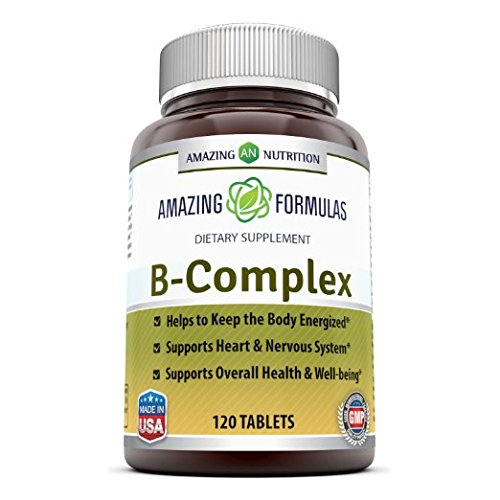 Amazing Formulas B Complex - 100Mg or Mcg Doses of 11 Key Nutrients - 120 Tablets - Provides Energy Support - Promotes Heart & Nervous System Health & Overall Well-Being (Heart 120 Tablets Support)