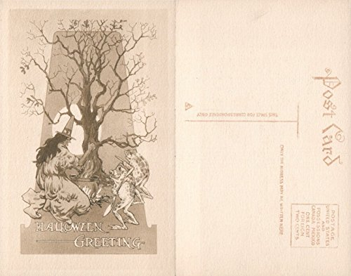 (ANTIQUE HALLOWEEN POSTCARD - WITCH w/FROGS by GIBSON ART)