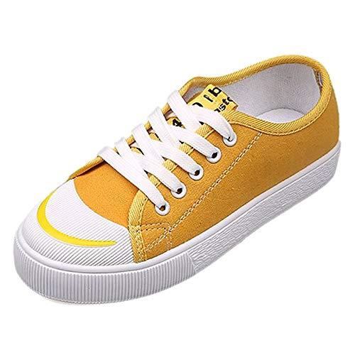 ZHZNVX Zapatos de Mujer Canvas Summer Comfort Sneakers Flat Heel Round Toe Blanco/Negro / Amarillo Yellow