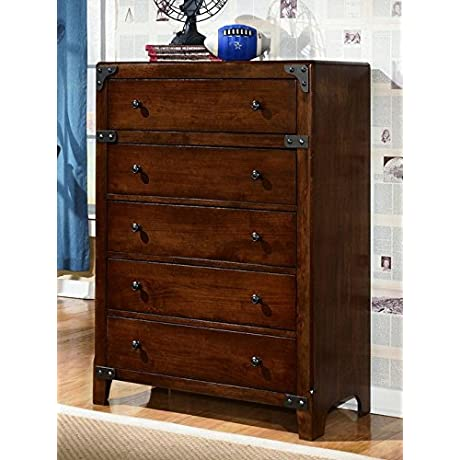 Ashley Furniture Signature Design Delburne Chest Of Drawers 5 Drawers Casual Youth Medium Brown