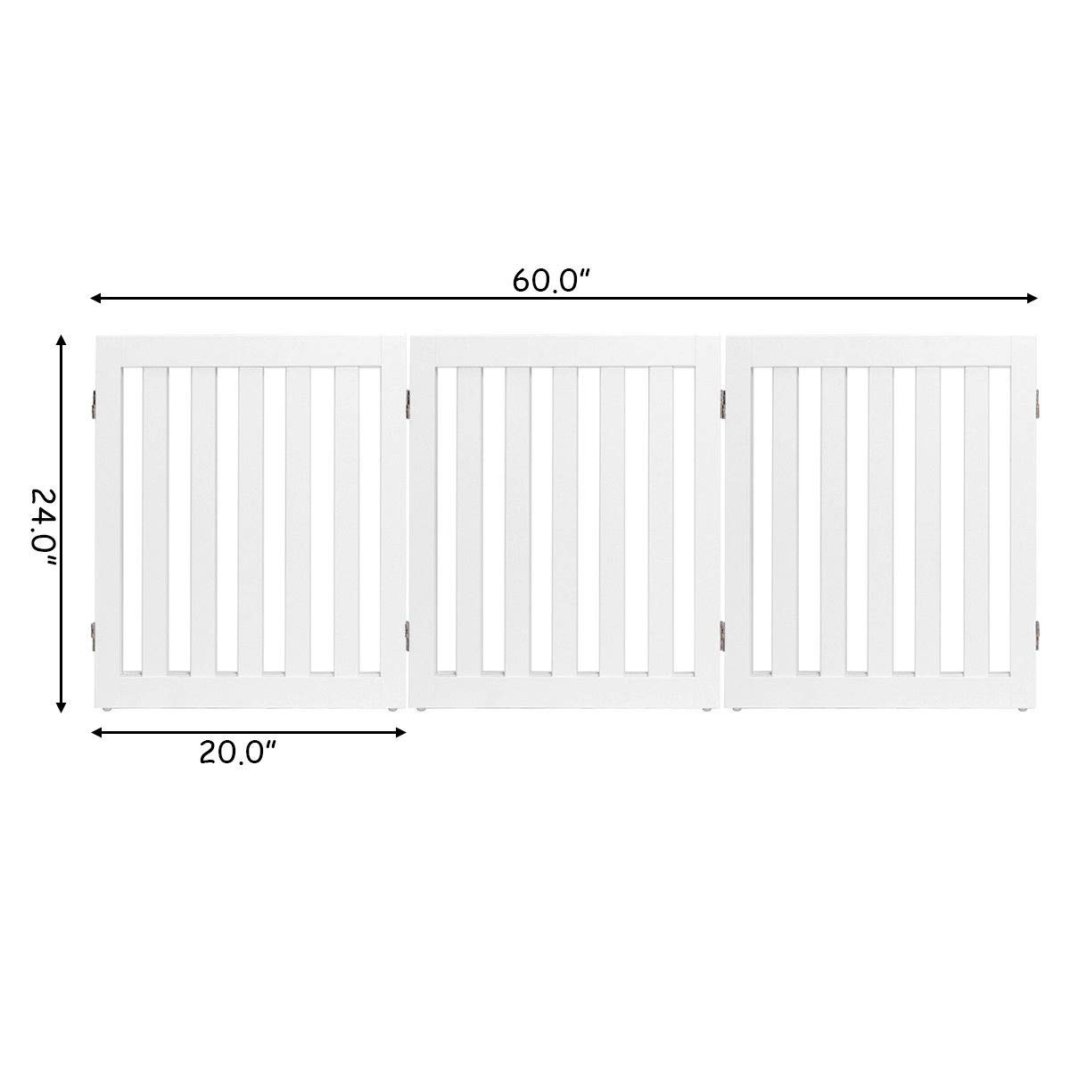 S AFSTAR Safstar Wooden Dog Gate Freestanding Pet Puppy Fence Foldable Baby Safety Gates for The House Doorway Hall Stairs 3 Panel 24 inch Height