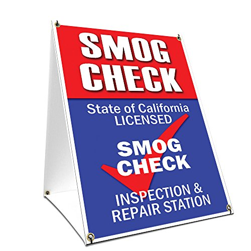 "A-frame Sidewalk Smog Check Sign With Graphics On Each Side | 18"" X 24"" Print Size from SignMission"