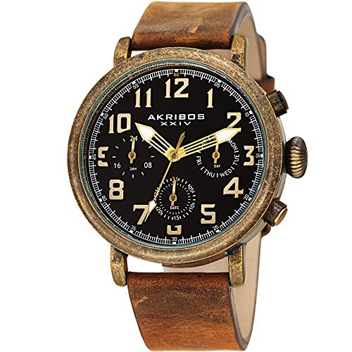 Akribos XXIV Men's Multifunction Antique Watch - 3 Subdials 24 Hour, Date, Day Large Arabic Numeral - On Comfortable Leather Strap - - Men Antique Watch