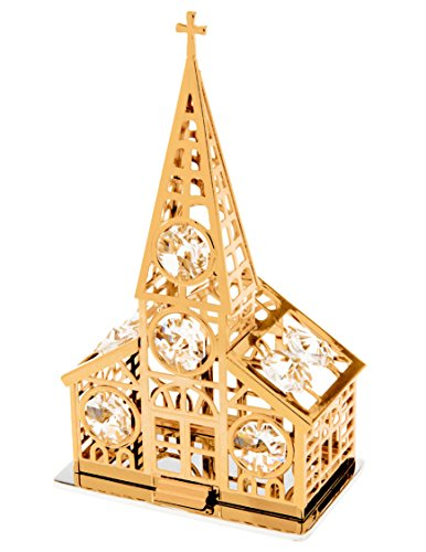 - Chapel 24k Gold Plated Church Figurine W Spectra Crystals by Swarovski