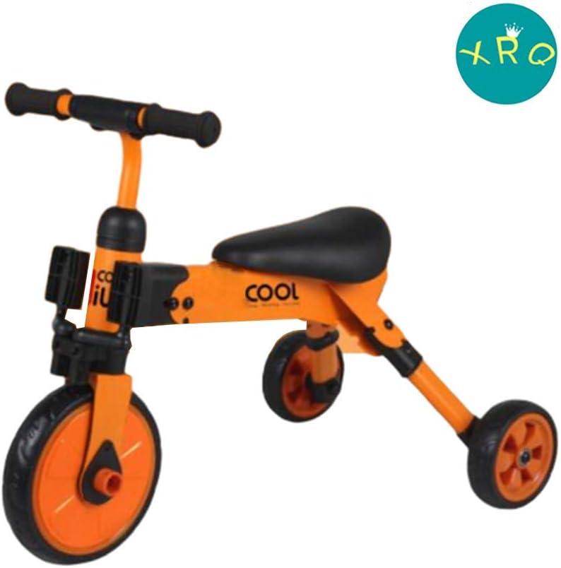 XRQ Bicicleta Fácilmente Plegable, Triciclo Multifuncional para Niños, Andador De Bicicleta De Equilibrio, Fácil De Transportar Y Ligero,Naranja
