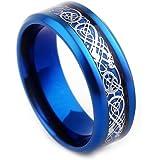 Varanda ドラゴンデザイン指輪 リング 龍紋 竜 メンズ ステンレス チタンリング チタン指輪 平打ち アクセサリー