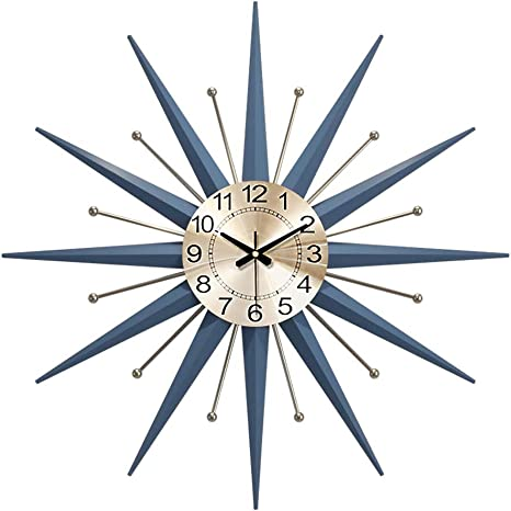 Mid Century Metal Wall Clock Large Starburst Decoration Clock For Living Room Bedroom Office 3d Battery Powered Silent Clock L Home Kitchen