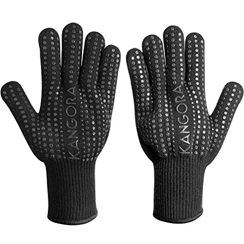 KANGORA Kitchen Cooking Gloves (Pair) Heat Resistant BBQ Grilling Oven Mitts   Non-Slip Silicone Grip, Long Safety Cuff   Protect Hands, Wrists   Barbecue, Stove, Oven Safe (Black)
