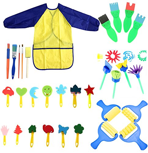 YallFairy Paint Sponges for Kids, 31 pcs of fun Paint Brushes for Toddlers Learning Toys Sponge Brush Flower pattern brush set Long Sleeve Waterproof Apron