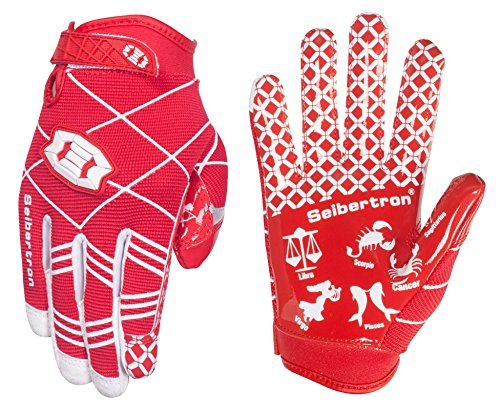 Seibertron Pro 3.0 Twelve Constellations Elite Ultra-Stick Sports Receiver Glove Football Gloves Youth (red, M) (Youth Gloves Ohio Football State)