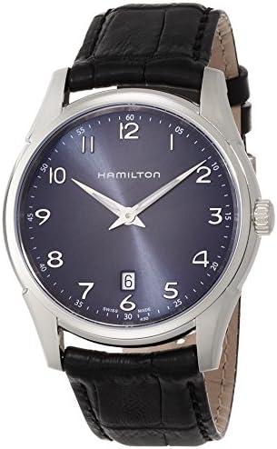 Hamilton Men s Jazzmaster Stainless Steel Swiss-Quartz Watch with Leather Calfskin Strap, Black, 20 Model H38511743