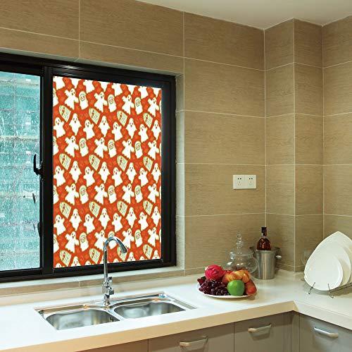 C COABALLA No Glue Window Film,Burnt Orange,for Window Moving Glass Door,Funny Halloween and Demon Graphic on Skull and,24''x36''