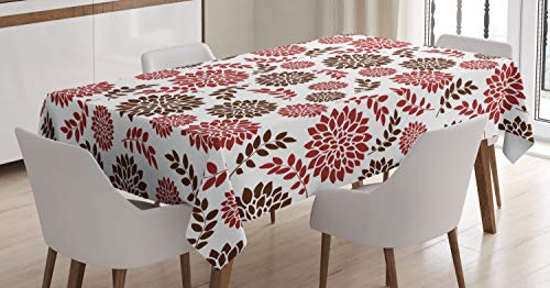 Nature Tablecloth by Ambesonne, Spring Summer Season Flowers Dandellions Daisies Like Florals Image, Dining Room Kitchen Rectangular Table Cover, 60W X 90L Inches, Burgundy Ruby and Maroon