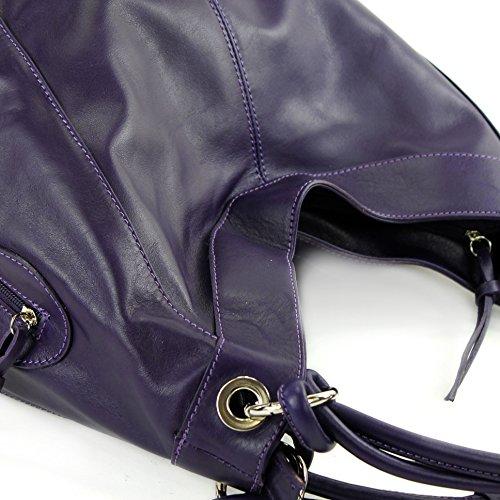 Bag 42x16x30 Colour Leather Nappa Italian Z18 Dunkellila Women's Modamoda Choice Large Cm Shoulder qaBSat