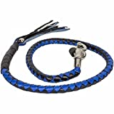 BIKER BLACK & BLUE 42'' PURE LEATHER GET BACK WHIP MOTORCYCLE WHIP OLD SCHOOL NEW (BLACK & BLUE, 42 INCHES)