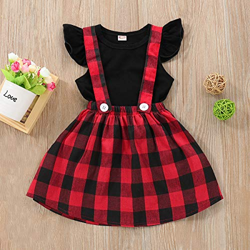 Toddler Baby Infant Girl Dress Overall Skirt Long Sleeve Romper T-Shirts Outfits Ruffle Cotton Clothes + Plaid Suspender Skirt (Short Sleeve, 2-3T)