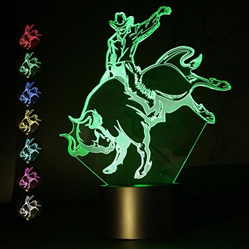 3 JOKERS 3D Illusion Bullfight Lamp Night Light USB Power 7 Color Change Touch Switch Amazing Table Desk Lamp Kids Gift Home Decoration