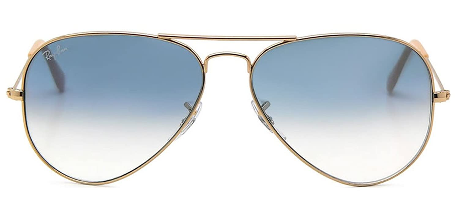 Amazon.com: Ray-Ban RB3025 001/3F 58mm Gold Metal / Blue Gradient ...