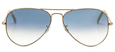ray ban aviator gradient rb3025 sunglasses pilot shape gold frame crystal light blue gradient lenses