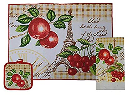 Set 3 Kitchen Linen Value Pack.  (Apples)