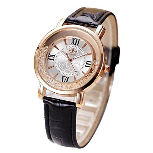 Womens Wrist Watch,Jushye Ladies Casual Watches Fashion Quartz Watch Rhinestone Leather Casual Dress Women Watch (Black) (Multi Colored Imported Casual)