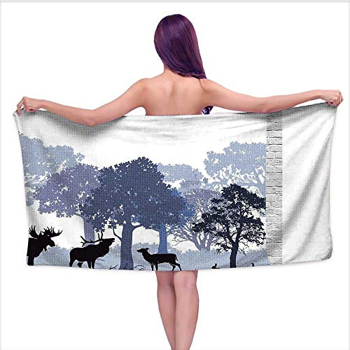 Leigh home Bath Towel, Abstract Woods North American s Deer Hare Elk TRE Lilac Blue Black,Good Ideal for The Kid's Bathroom, a Guest Bathroom W 27.5