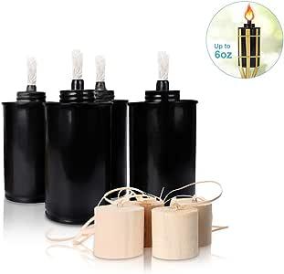 LANMU Linterna, latas de repuesto para antorcha de bambú, antorcha de repuesto con mechas y fundas, antorchas de citronela, antorcha para patio al aire libre para luau, fiesta, decoración de antorcha de