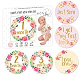 Baby Monthly Milestone Stickers   Birth to 12 Months + 8 Bonus Achievement Stickers   Set of 20 Floral Gold Stickers   Best for Baby Girl