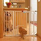 Carlson Pet Products 0930PW Extra Wide Walk-Thru Gate with Pet Door, White