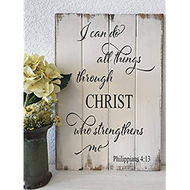 Adonis554Dan I Can Do All Things Through Christ Who Strengthens Me Scripture Sign christiain Decor Inspirational Wood Sign Bible Verse Sign
