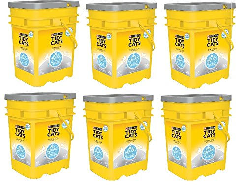 Purina Tidy Cats Glade Tough Odor Solutions Clear Springs Clumping Cat Litter, 35 lb - 6 Pails